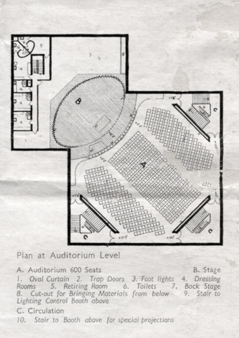 Tagore Theatre,  Plan at Auditorium Level:  A. Auditorium, 600 seats, B. Stage, C. Circulation;
