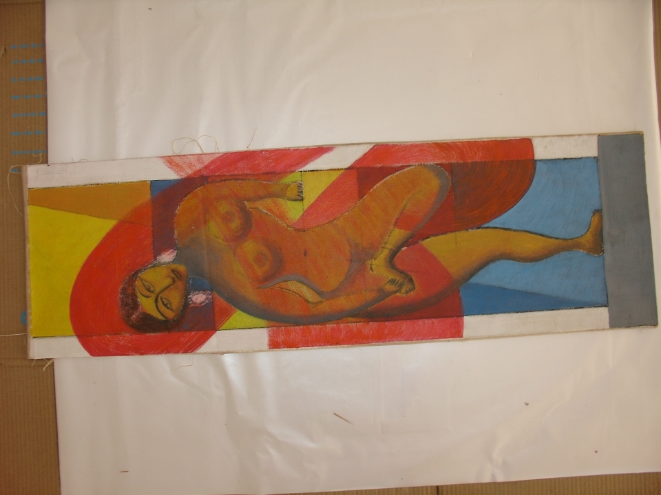"Untitled, (Print) Acrylic on Canvas, 10.5"" X 34"" (Undated)"